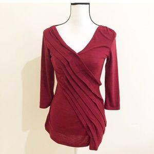 Deletta | 3/4 Sleeve Burgundy Tunic Shirt